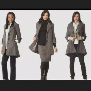 CAbi Black and White Tweed Swing Coat sz 12